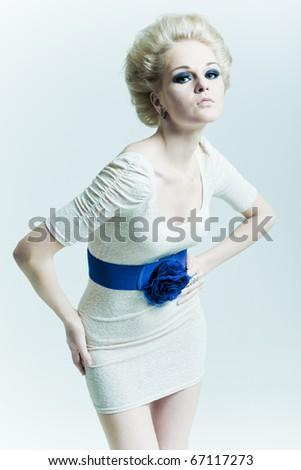 Fashion woman looks forward - stock photo