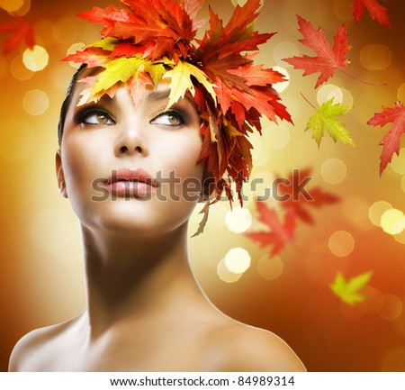 Fashion Woman Makeup. Autumn Style - stock photo