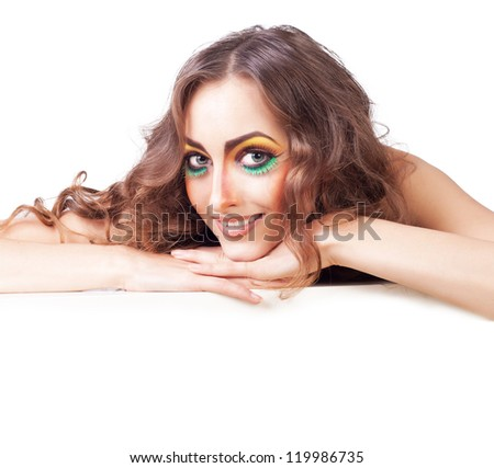 fashion woman model with beauty bright make-up with smile - stock photo