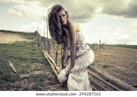 Fashion woman outdoor  - stock photo