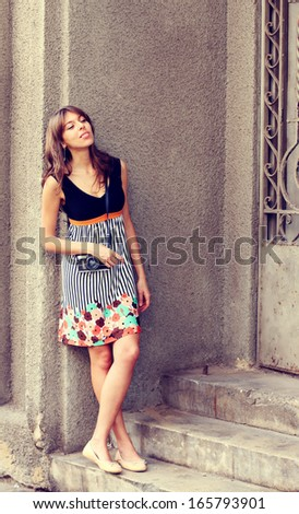 fashion  woman outdoors - stock photo