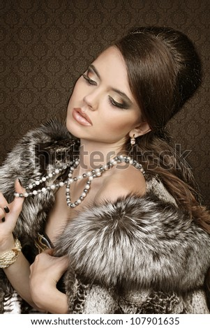 Fashion Woman Portrait on Classic Interior wallpaper background