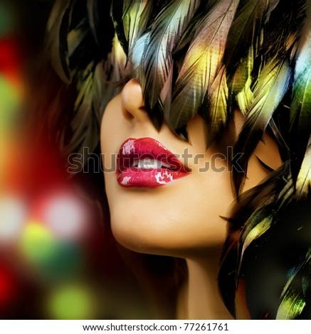 Fashion woman Portrait.Red Lips - stock photo
