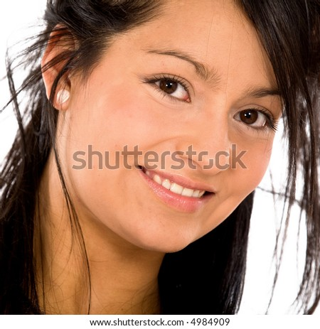 fashion woman portrait where she is smiling over a white background