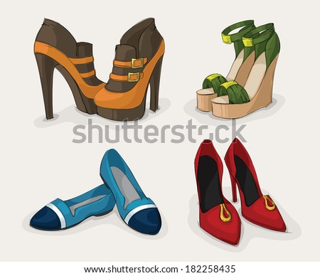 Fashion woman's shoes collection of ankle boots sandals and ballet flats isolated  illustration - stock photo