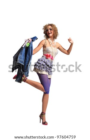 Fashion woman 80's style - stock photo