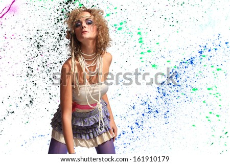 Fashion woman 80's style over paint splatter background - stock photo