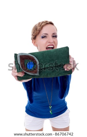 fashion woman screaming while showing you a nice purse - stock photo