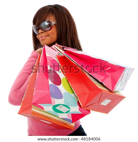 fashion woman smiling with shopping bags isolated over a white background - stock photo