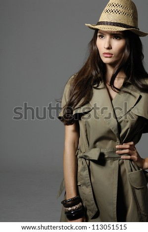 Fashion woman wearing hat isolated - stock photo