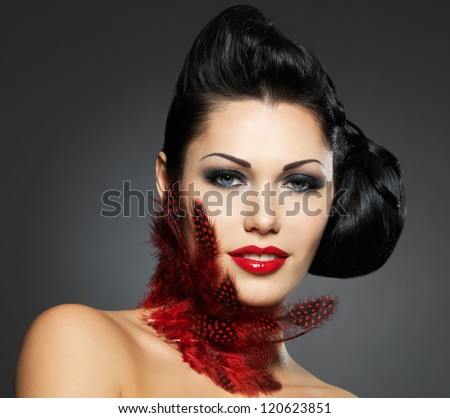 Fashion woman with beauty hairstyle and style makeup -  isolated on white background