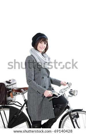 Fashion Woman With Bicycle - stock photo