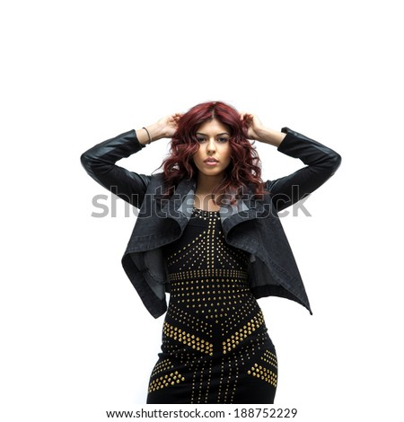 Fashion woman with bright red hair. Isolated over white background - stock photo