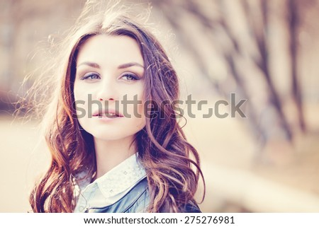 Fashion Woman with Coloring Hairstyle Outdoors - stock photo