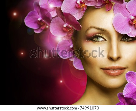 Fashion  Woman with Flowers over black - stock photo