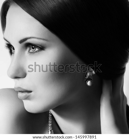 Fashion woman with jewelry precious decorations. - stock photo