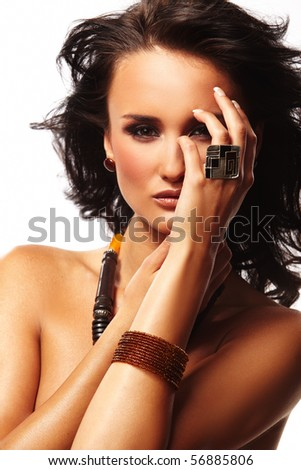 fashion woman with jewelry wood and stone on white background - stock photo