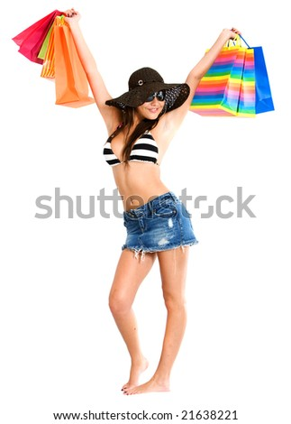Fashion woman with shopping bags isolated over a white background - stock photo