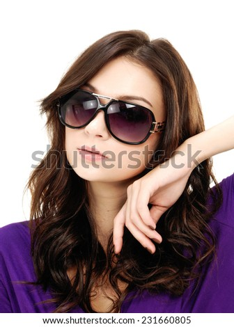 fashion woman with sunglasses  - stock photo