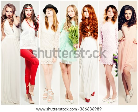 Fashion Women Collage. Beautiful Fashion Model - stock photo