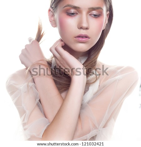 fashion women face beauty portrait - stock photo