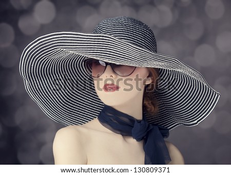 Fashion women in wide hat - stock photo