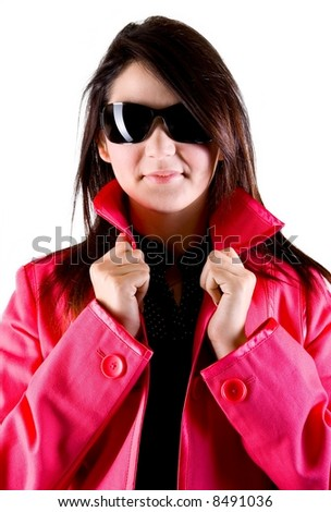Fashion women wearing shades and coat - stock photo