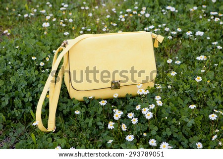 Fashion yellow bag on the grass surrounded by daisies - stock photo