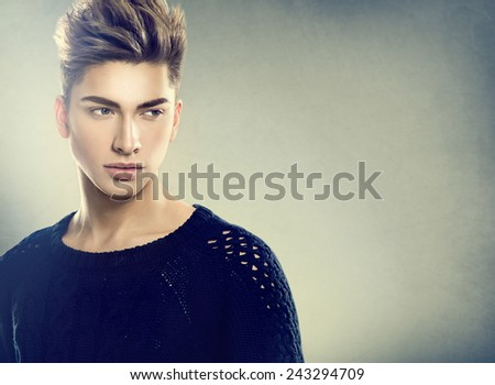 Fashion young model man portrait. Handsome Guy. Vogue style image of elegant young man  - stock photo