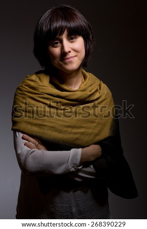 fashion young woman on a grey background - stock photo