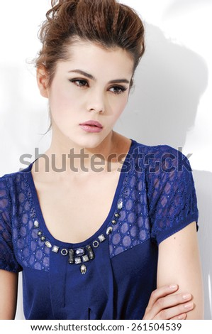 Fashion young woman portrait , - stock photo
