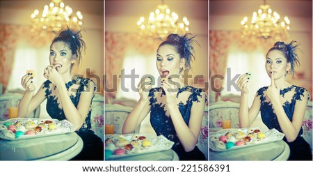 Fashionable attractive young woman in black dress eating macaroons in restaurant. Beautiful brunette holding cookies in elegant vintage scenery. Attractive lady with creative haircut eating cakes - stock photo
