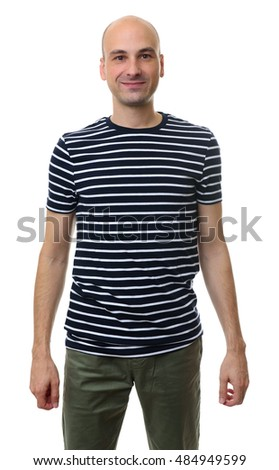 fashionable bald man wearing striped t-shirt. Isolated on white background