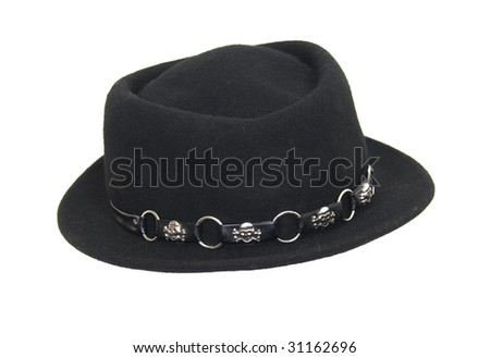 Fashionable Black hat to be worn on the head for protection and fashion - path included