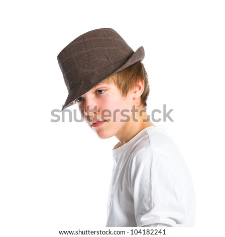 Fashionable boy in hat. Isolated on white background - stock photo