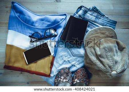 Fashionable  clothing. Apparel with Accessories. - stock photo