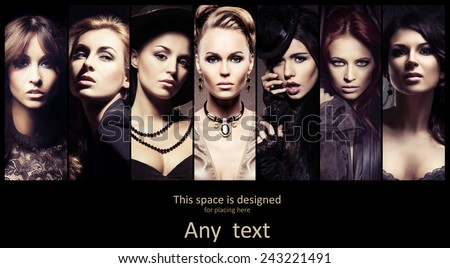 Fashionable collection of different female portraits in detective poster style. Fashion, beauty and jewelry collage.