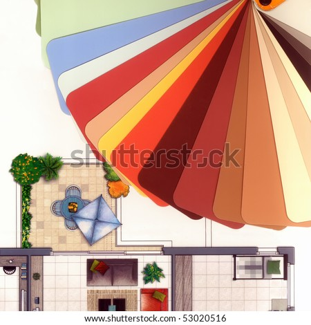 Fashionable colors of paint  isolated on a white background and fragment  of colorful apartment plan pattern with furniture. - stock photo