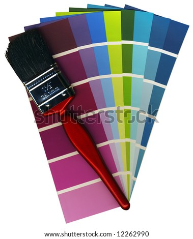 Fashionable colours of paint swatches, and a brush on a white background isolated, with Clipping Path - stock photo