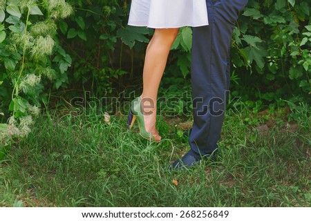 Fashionable cool couple, legs, lifestyle - concept