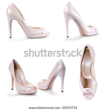 Fashionable female shoes - stock photo