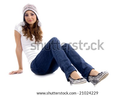 fashionable girl wearing cap with white background - stock photo
