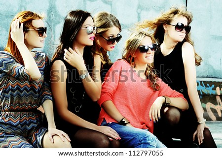 fashionable girls - stock photo