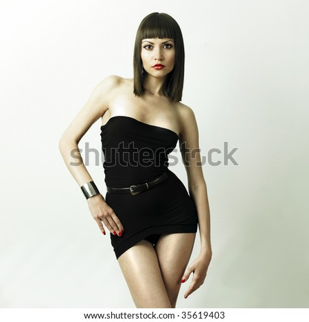 Fashionable glamourus photo of young woman in bracelet - stock photo