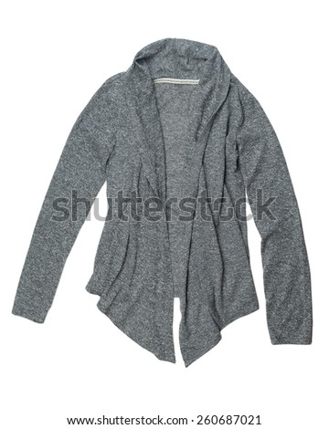 Fashionable gray wool cardigan. Isolate on white. - stock photo
