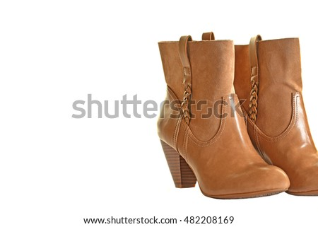 Fashionable High Heel Boots for Women isolated on White Background