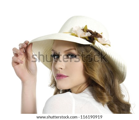 fashionable in modern stylish hat posing - stock photo
