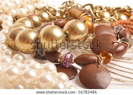 fashionable jewelry on white background (close up)