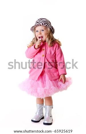 Fashionable kid with lipstick on white - stock photo
