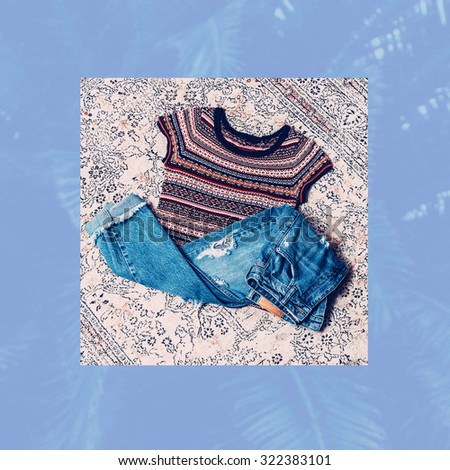 Fashionable Ladies Look. Trendy ornament and blue Jeans. - stock photo